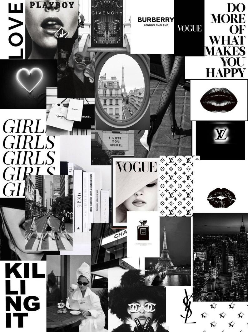 B W Paris Fashion Vsco Digital Wall Collage 30pcs In 2021 Wall Collage Black Aesthetic Wallpaper Photo Wall Collage