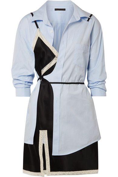 74f29cf757c Alexander Wang - Layered Lace-trimmed Satin And Cotton-poplin Mini Dress - Sky  blue