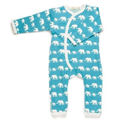 Elephant Print Blue Organic Baby Grow Unique Baby Elephant Baby