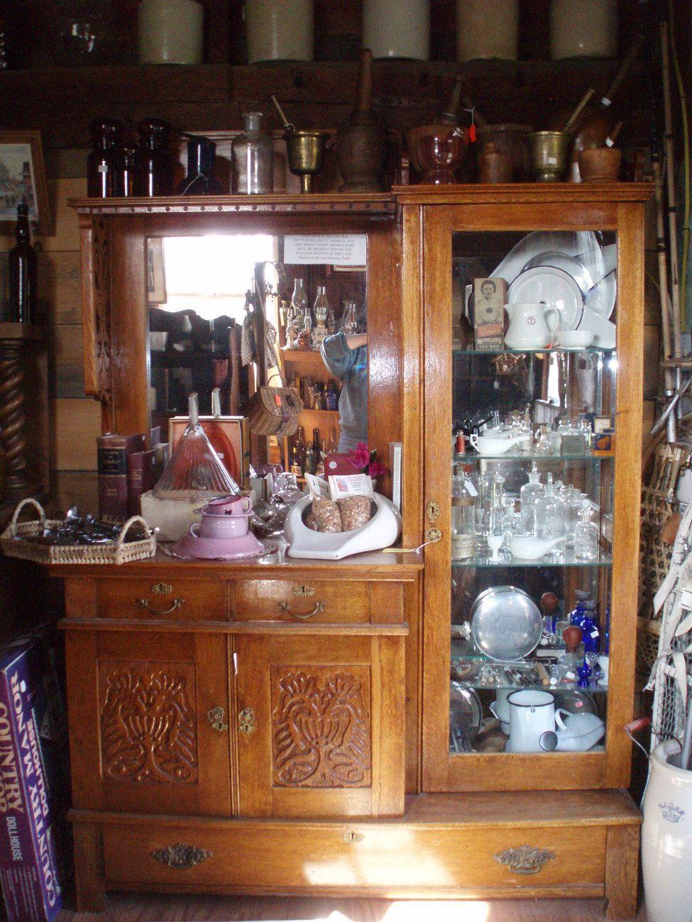 Antique Oak Side By Side Display Curio Cabinet Furniture