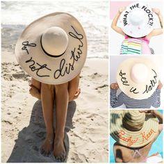 Decoración Fácil  4 Tutoriales sombreros de playa con frases ... 3e3e5e256c9