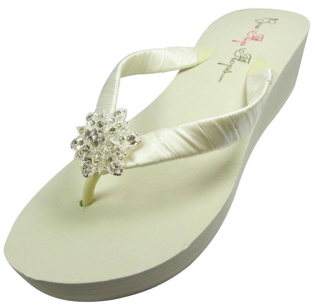 Wedding Flip Flops With Vintage Flower Bling Ivory White Wedge