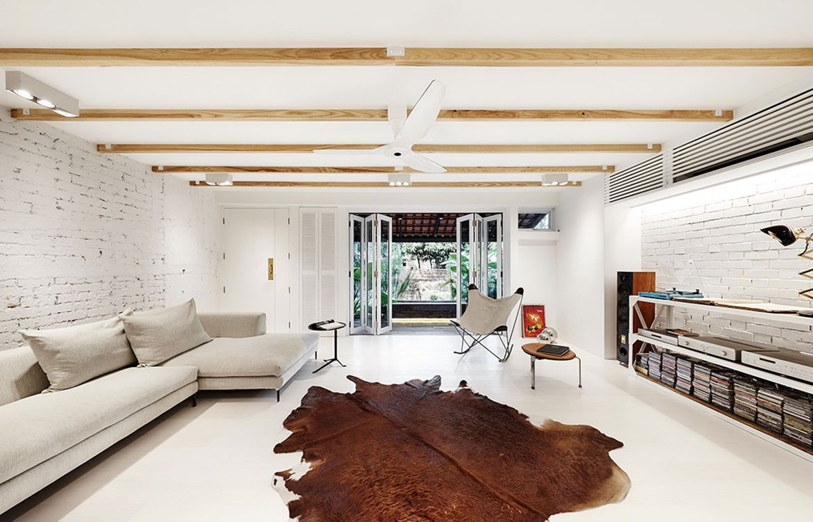 UpStairs white brick house living room | Architecture - Residential ...