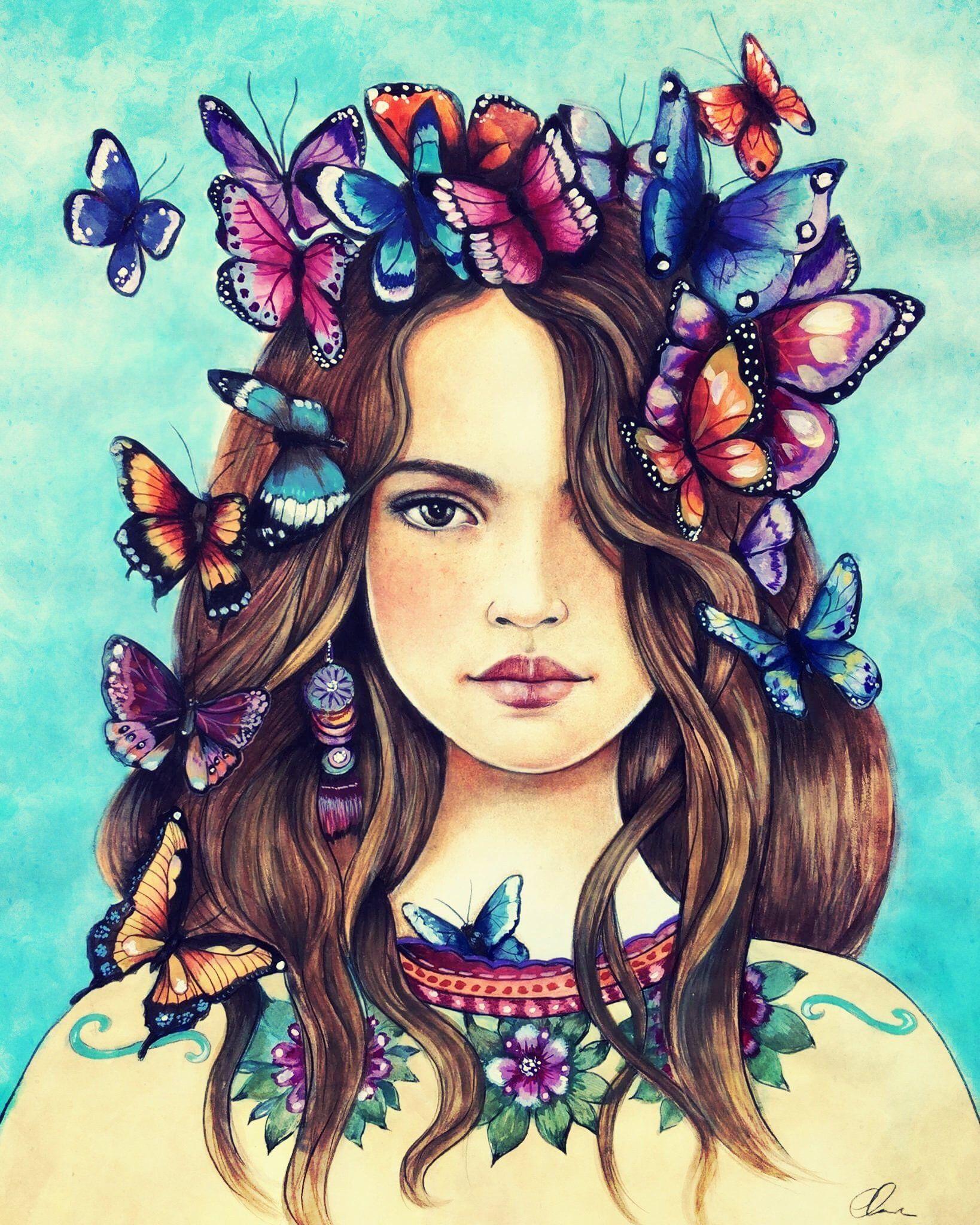 female empowerment, art print ,woman artwork, portrait artwork ,claudia tremblay Butterflies on her mind