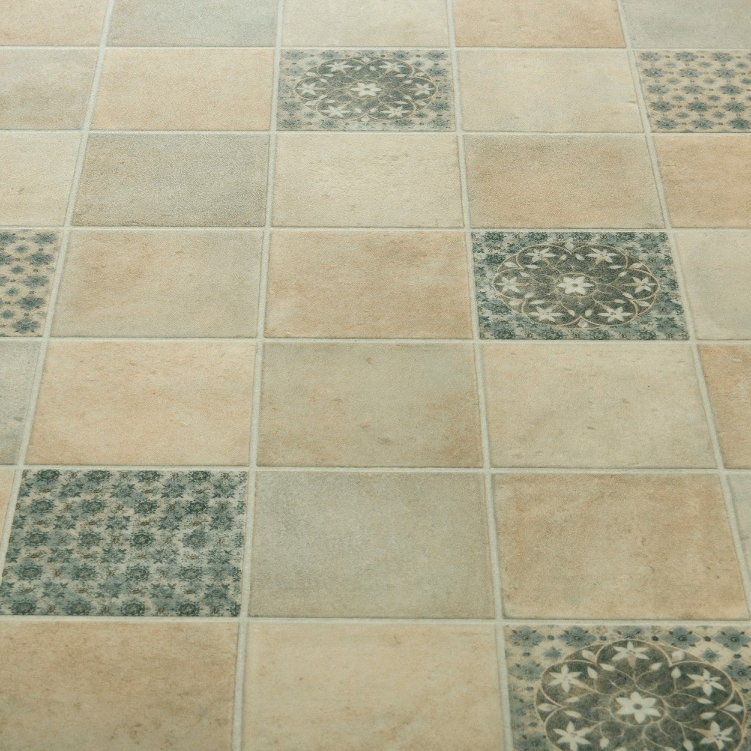 Atlas Salsa Grey Moroccan Patterned Vinyl Flooring Windows - Grey patterned vinyl floor tiles