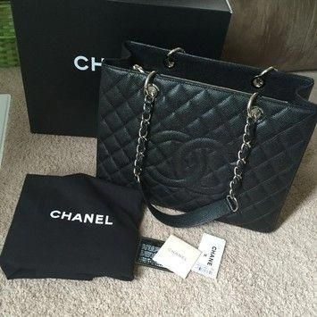 d9a47729d126 Chanel Shopping Tote, Chanel Tote Bag, Discount Designer Handbags, Black Tote  Bag,
