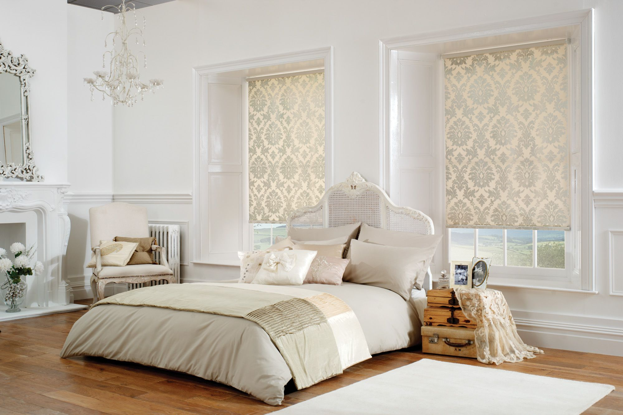 Shimmering Cream And White Gold Damask Patterned Roller Blinds In A White And Cream Bedroom With A Shabby Chi