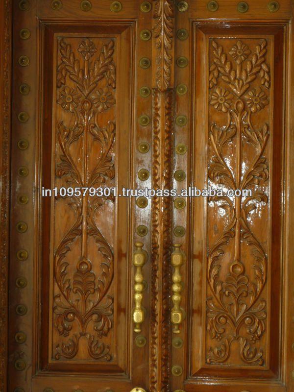 Blog Teak Wood Main Door Design In India: Main Entrance Solid Wood Hand Carved Double Door, View