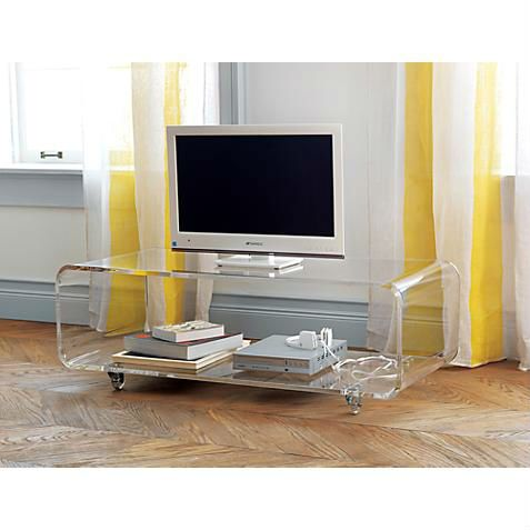 Acrylic Console Table with Wheels\/Lucite TV Table\/Perspex Media Console with Casters\/\/Acrylic
