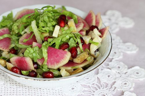 Colorful Winter Salad Of Roasted Chestnuts And Watermelon