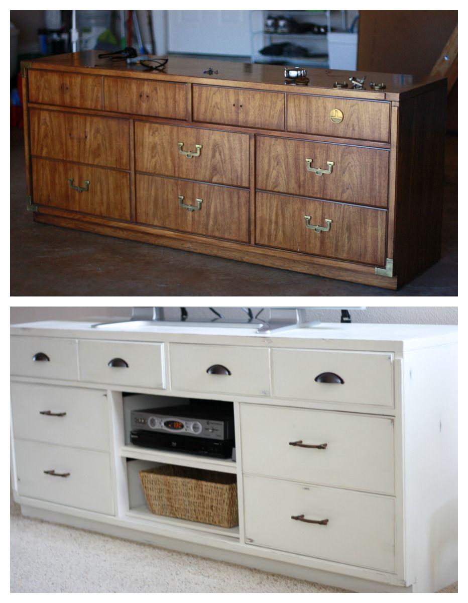 dresser repurposed to a tv console