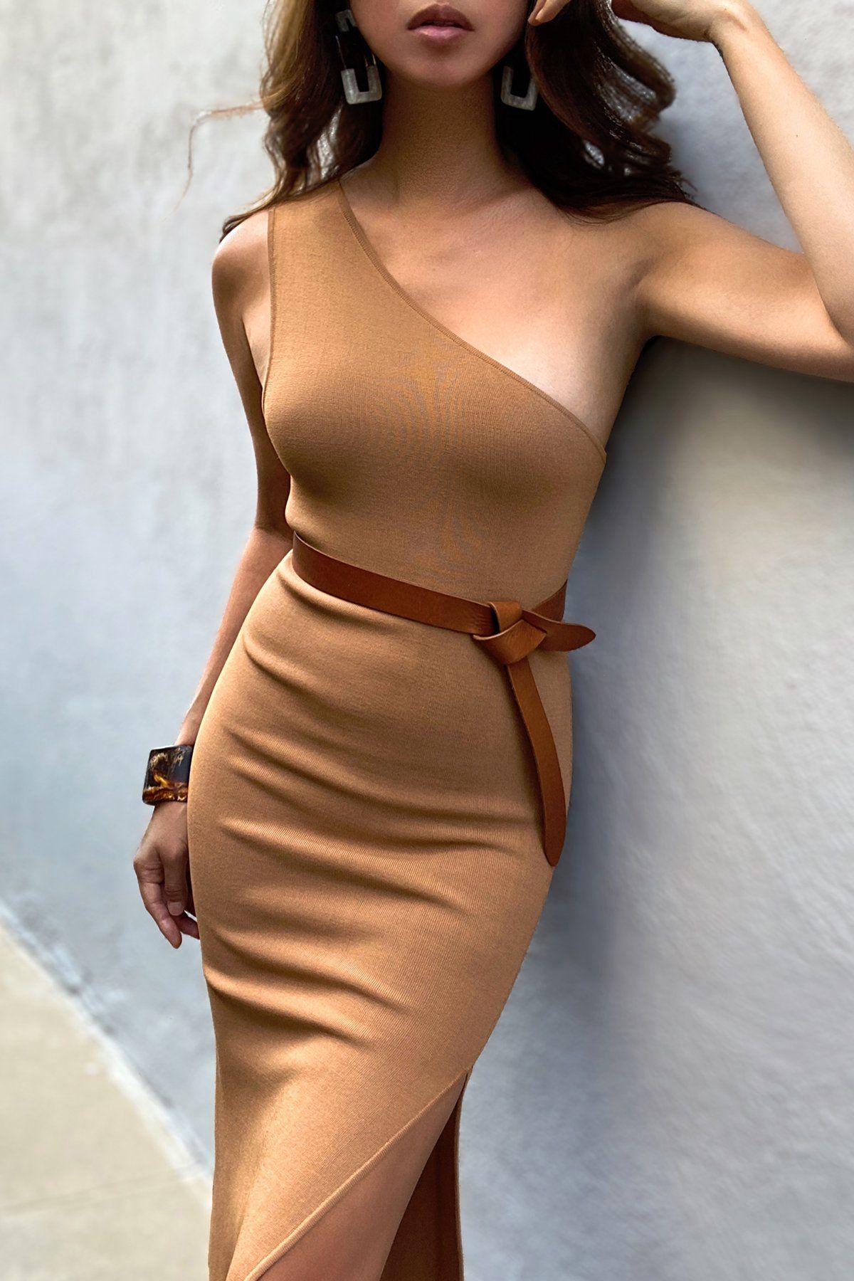 Basic One Shoulder Midi Dress Tan Midi Dress Dresses Midi Dress Bodycon [ 1800 x 1200 Pixel ]