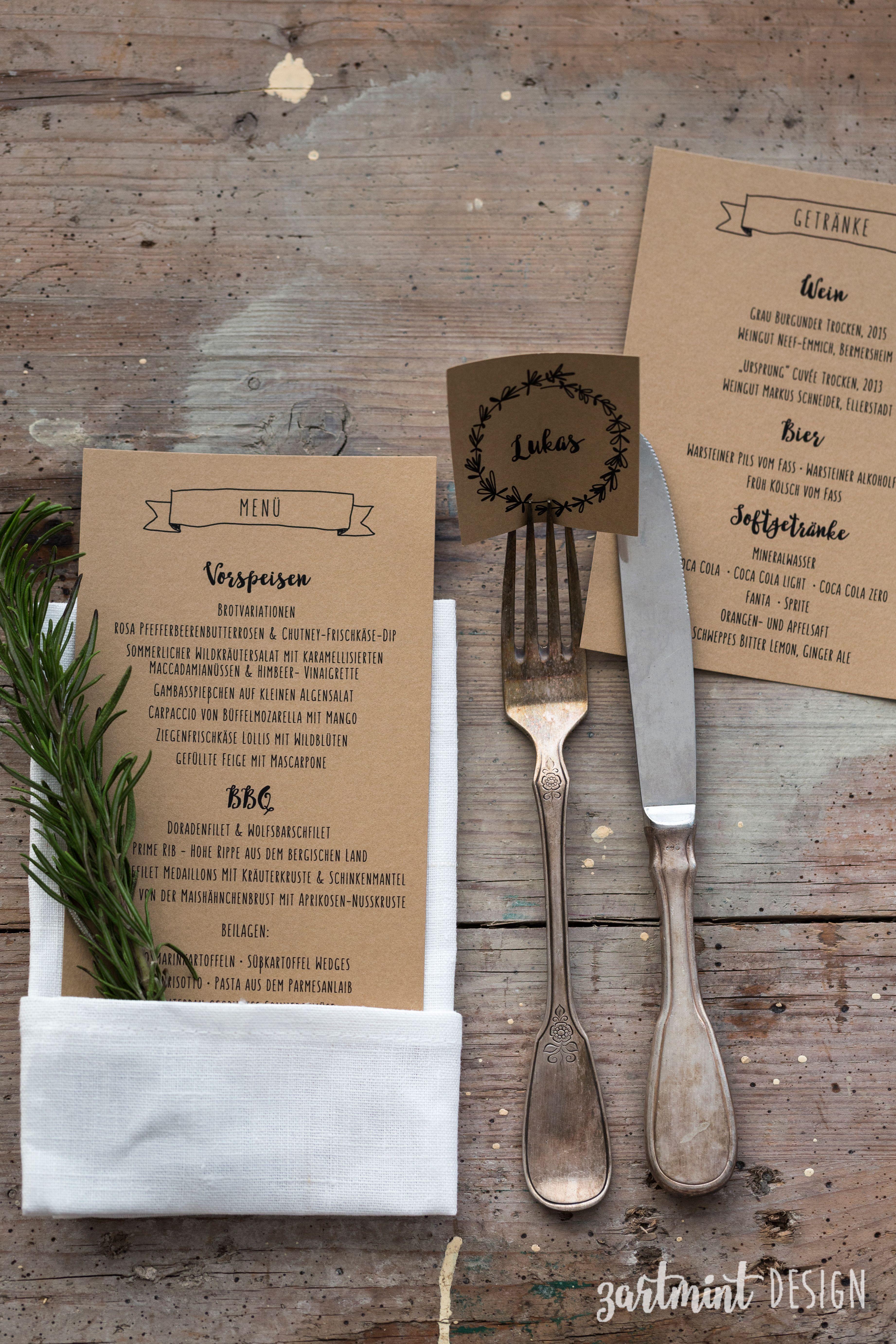 Hochzeitspapeterie hochzeitseinladung kraftpapier rosmarin ♥ menükarte menü getränkekarte namensschild namen