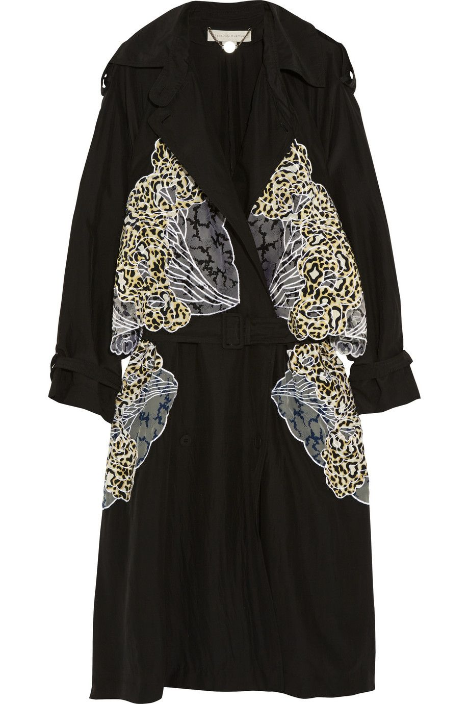 STELLA MCCARTNEY Gabriella Appliquéd Silk Trench Coat. #stellamccartney #cloth #coat