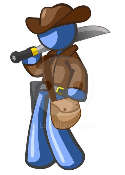 Design Mascot cowboy adventurer with machete and hat. He might be an archaeologist.