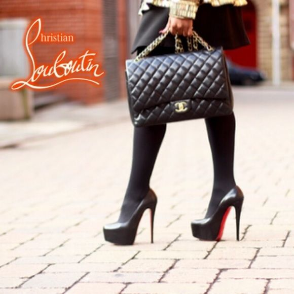 ✔️Christian Louboutin Lady Daffodile 36.5 100% Authentic - WORN ONCE Christian Louboutin Daffodile Platform RETAIL : $1,075.00 Black Leather.  Size: 36.5 Will fit Size US 5.5 Heel Height 6″ Included original box, no dust bag. Christian Louboutin Shoes Heels