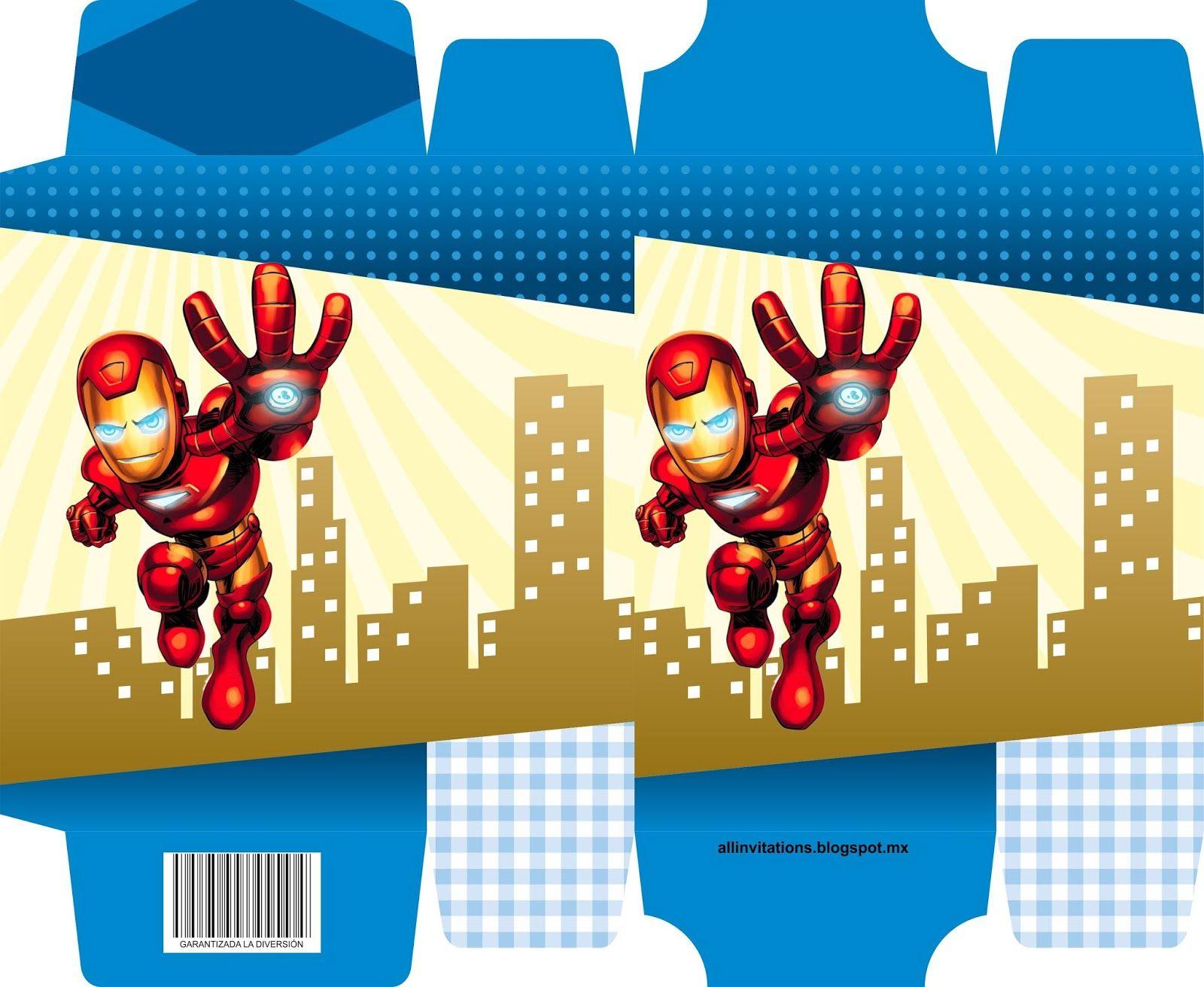 Caja Iron Man | To print | Pinterest | Invitaciones cumpleaños ...