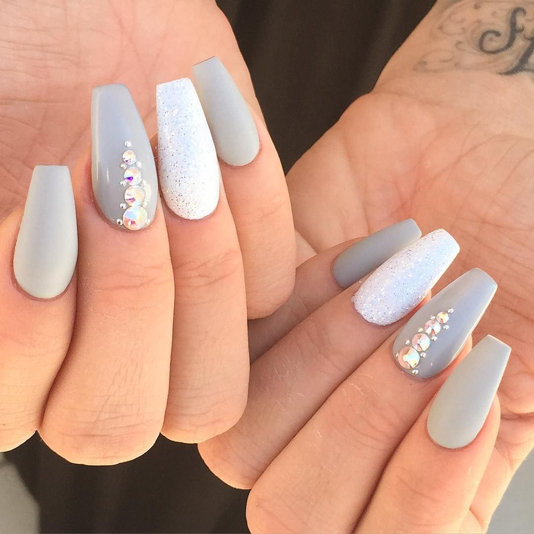 Grey And Glitter Nails More Coffin Shape Nails Nails Tumblr Prom Nails