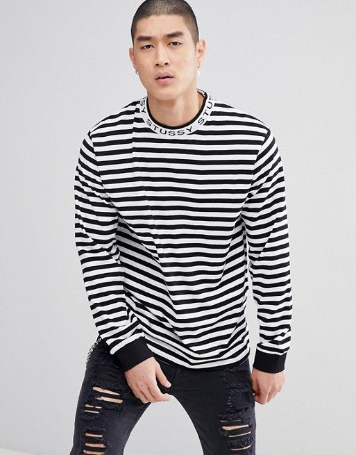 1b68188bf Stussy Long Sleeve Striped T-Shirt With Jacquard Logo Neck in Black ...