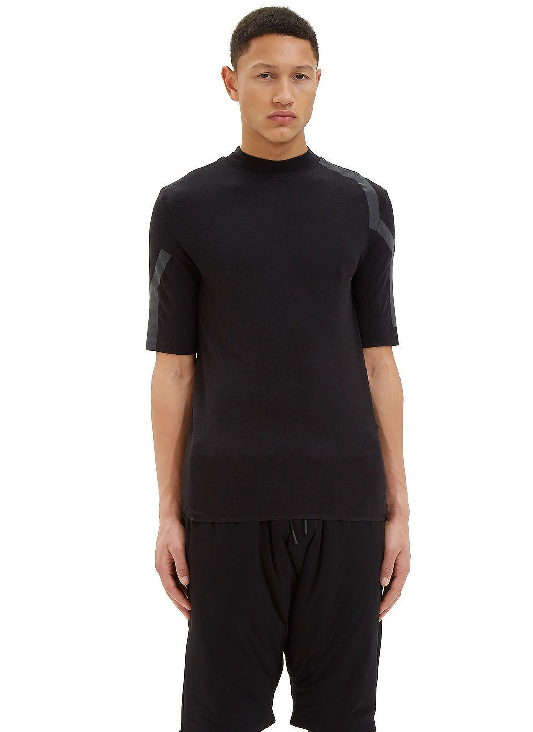 Y-3 Men's Mock Neck Merino T-Shirt in Black. #y-3 #cloth #