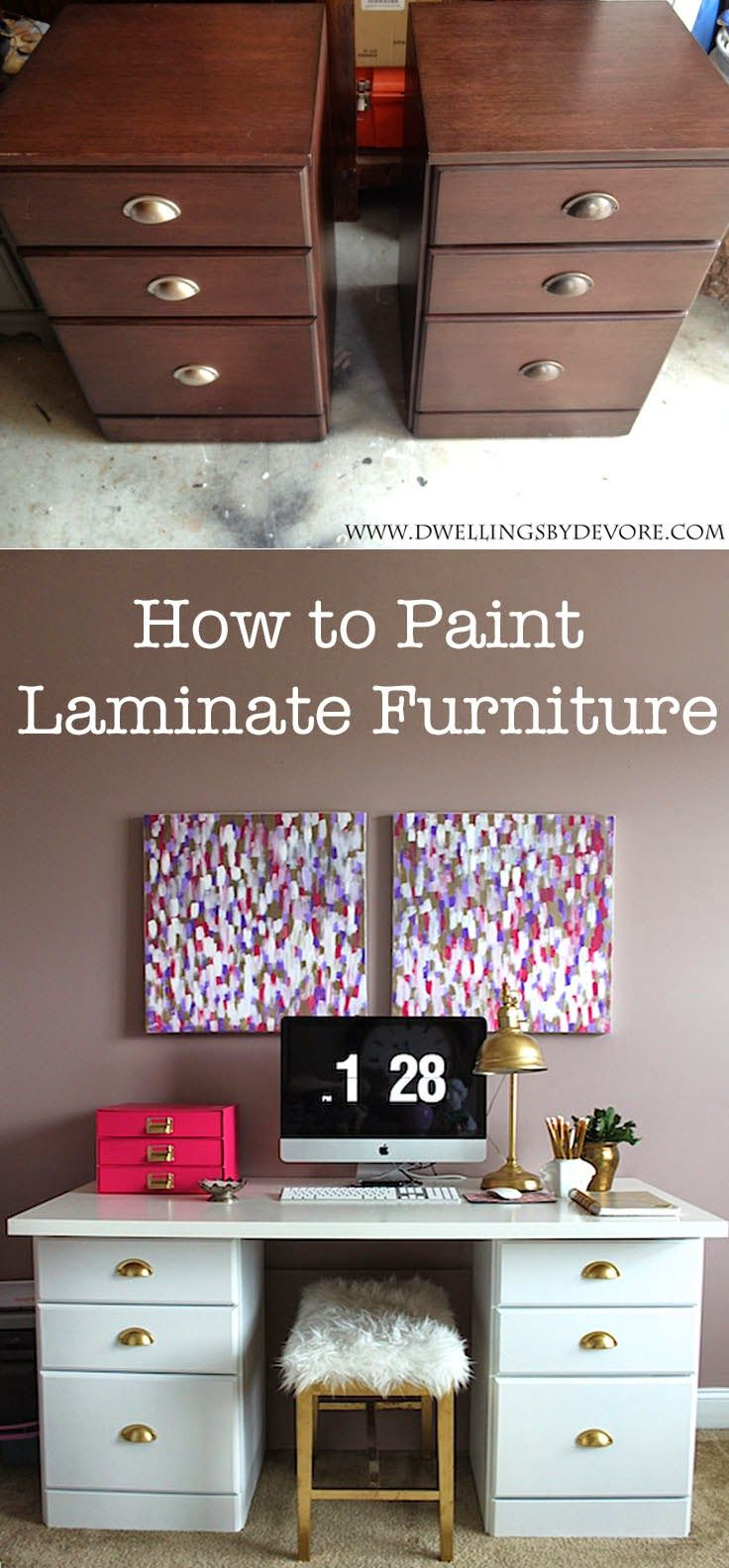 painted furniture makeover gold metallic. How To Paint Laminate Furniture W/ 2 Coats Kilz Adhesion Bonding Primer And Semi Gloss White (and Rustoleum Gold Metallic Spray For The Painted Makeover T