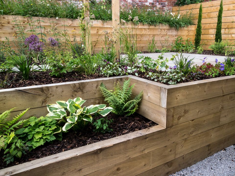 Rendered Flower Beds Made From Railway Sleepers J B