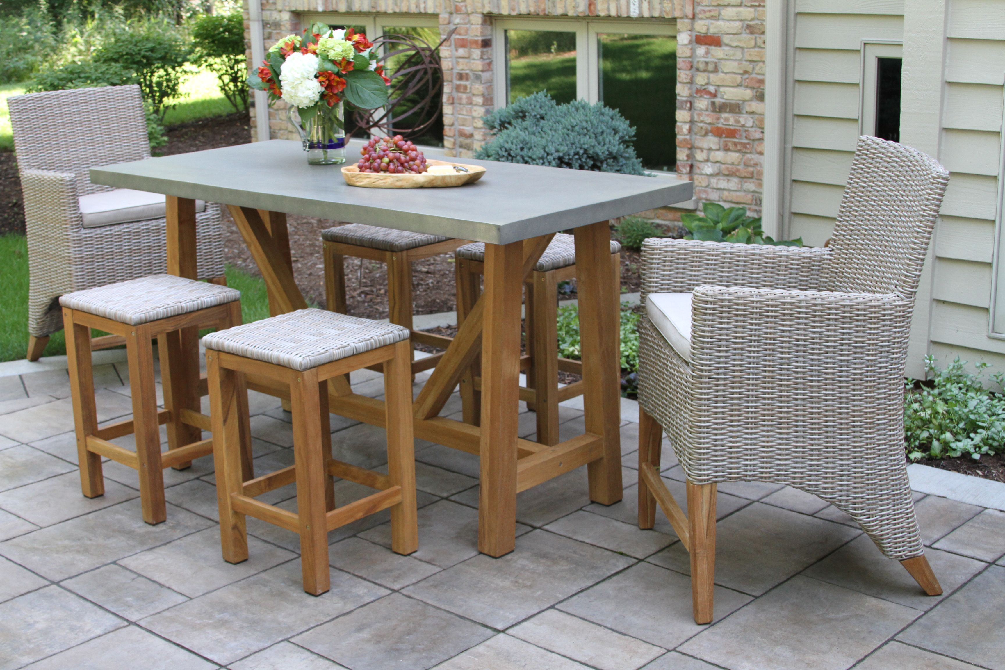 Awesome Vineyard Teak Wicker Counter Height Dining Set Teak Caraccident5 Cool Chair Designs And Ideas Caraccident5Info