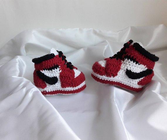f4e6d0c8bbf97 Crochet baby booties sneakers Jordan. Crochet baby shoes. Infant ...