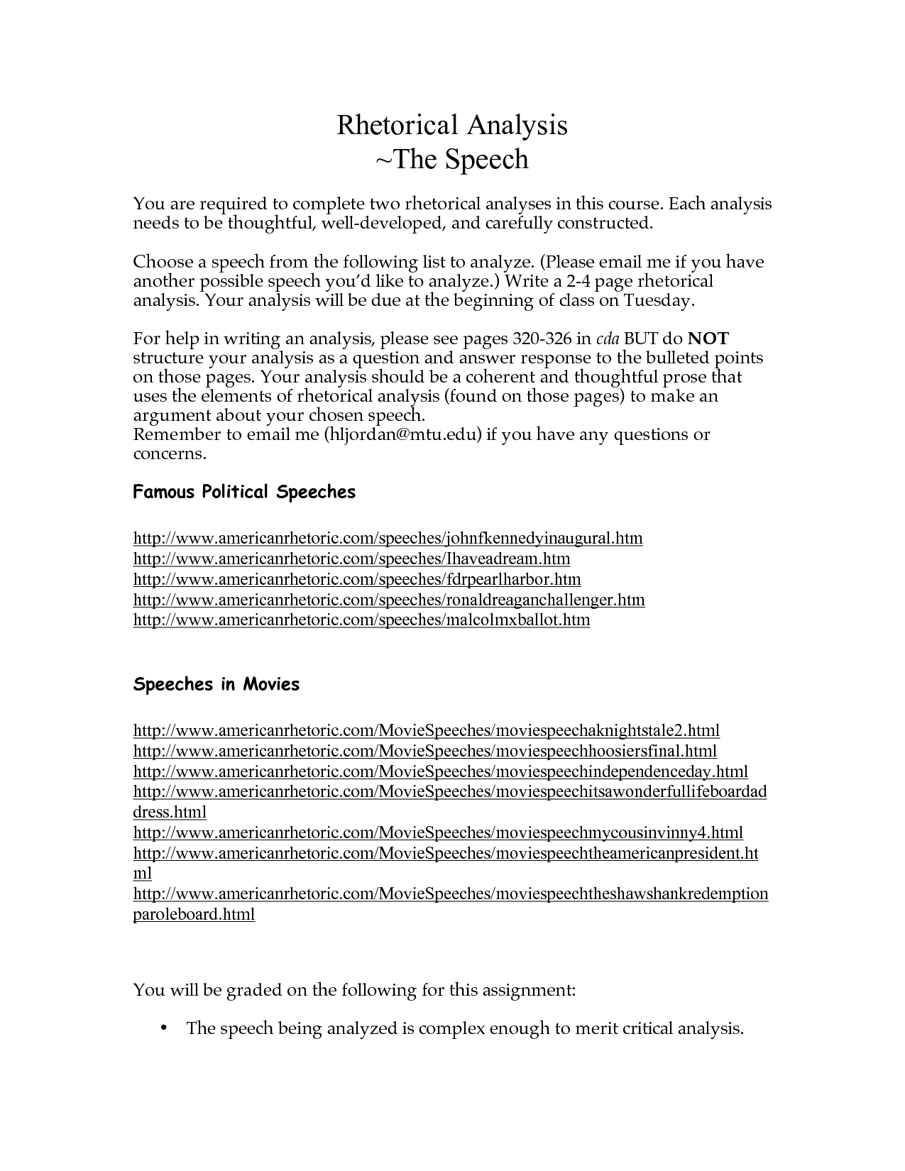 Speech Analysis Template  Rhetorical Analysis The Speech  Ap