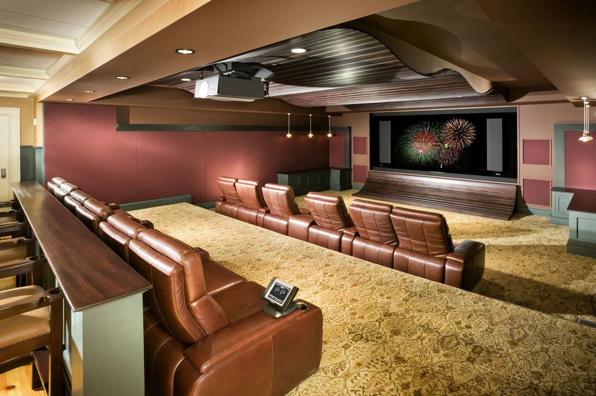 Basement Finishing Ideas For Living Room Theater With Brown Leather Sofa  Red Wall And Large Screen .