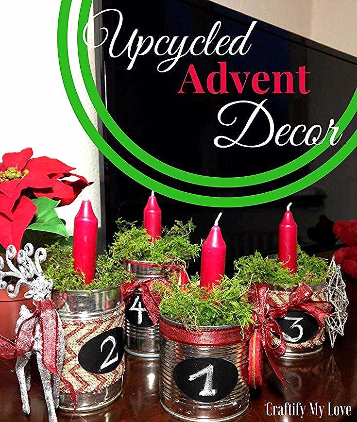 Upcycled Advent Decor from recycled tin cans plus natural moss and thrifted ornaments. Click for step by step instructions including video tutorial now | #adventwreath #upcyclingtincans #winterdecor #Christmasdecoration #videotutorial #reindeerornament #thrifted #upcycled #recycled #naturaldecor #moss
