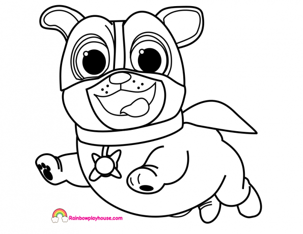 Puppy Dog Pals Captain Dog Coloring Page Rainbow Playhouse