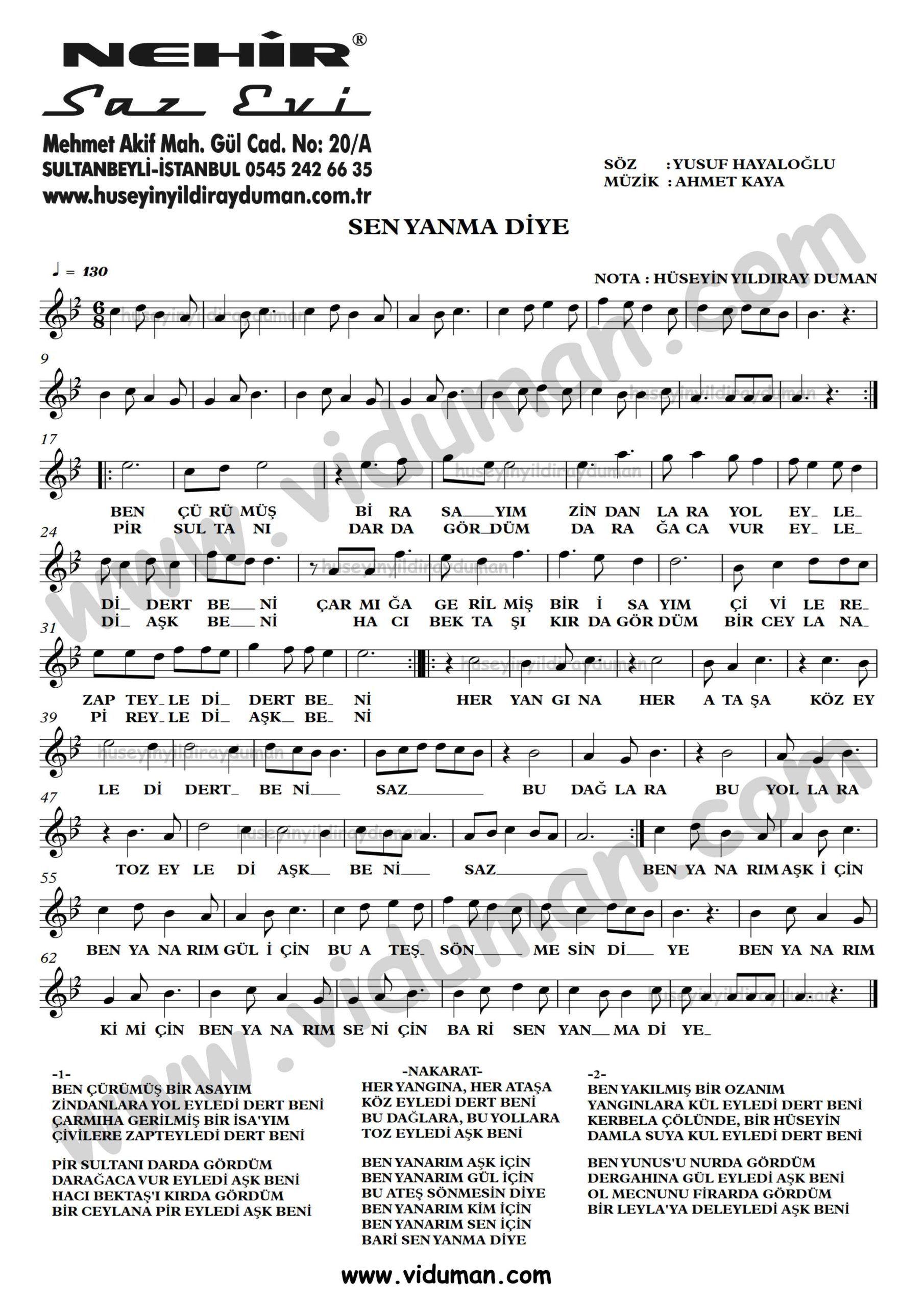 Sen Yanma Diye Ahmet Kaya Nota Baglama Saz Turku Notalari Muzik Notalari Muzik