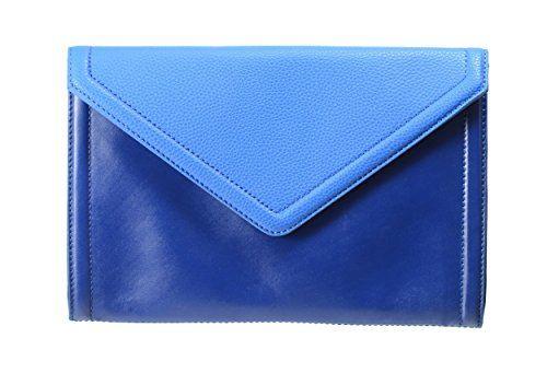 Isaac Mizrahi Designer Handbags Leather Darcy Clutch Convertible Shoulder Bag Shire Blue
