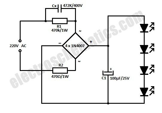 simple led circuit diagram led lamp circuit from scrap electronic