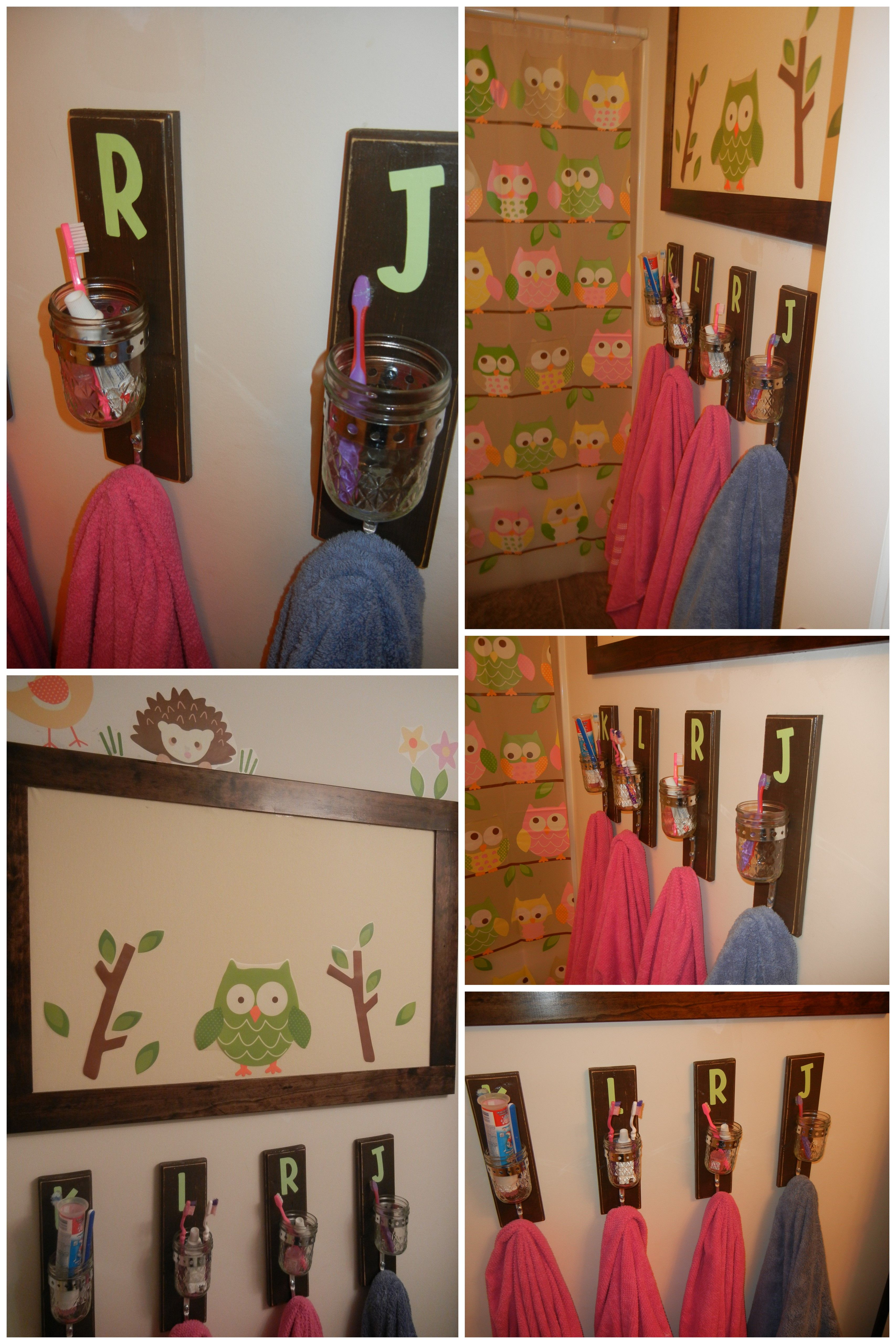Homemade toothbrush and towel holders for the kids. One of my ...