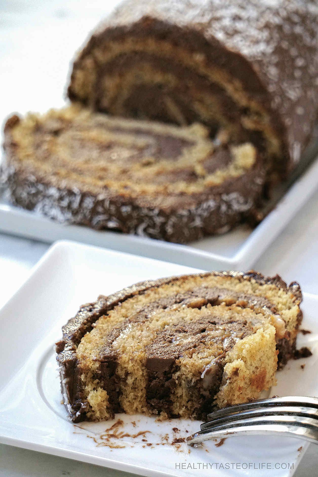 Gluten free swiss roll cake with carob frosting dairy