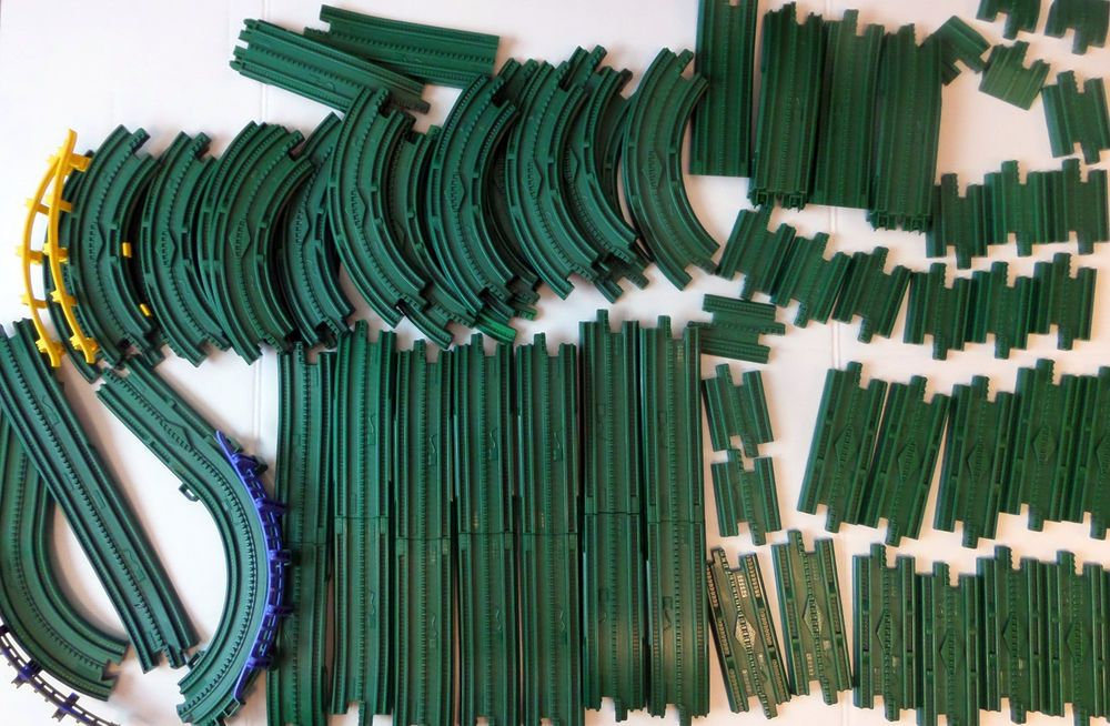 lot 64 pieces green tracks geotrax trains road guard curves elevated GeoTrax Train Toy Story lot 64 pieces green tracks geotrax trains road guard curves elevated fisherprice