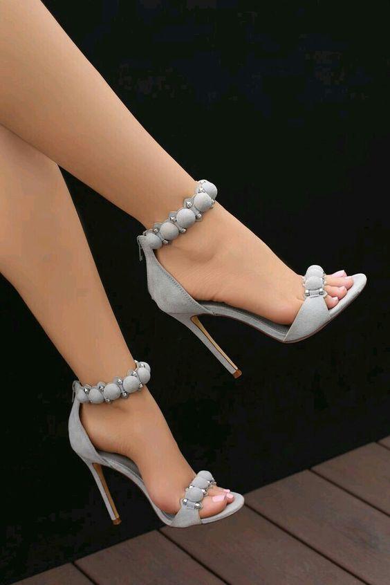Topuklu Ayakkabi Modelleri Gri Top Dugmeli Heels Heels Classy High Heels