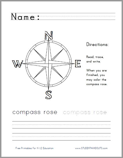 Compass Rose Handwriting Worksheet For Lower Elementary Social First Grade Compass Rose Compass Rose Handwriting Worksheet For Lower Elementary Social Studies Free To Print (pdf File)