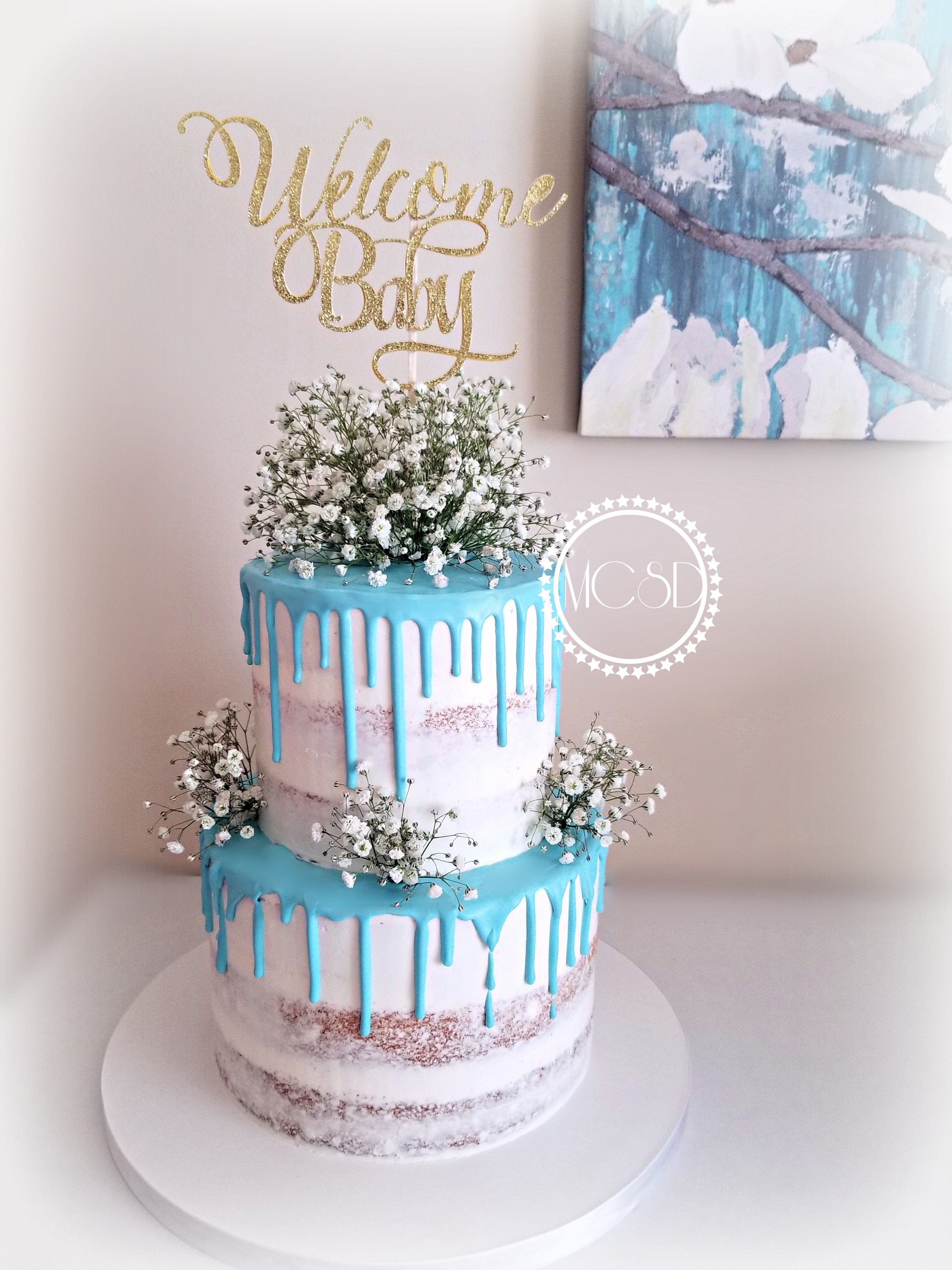 9585467f9146 A beautiful Naked cake for a Baby Shower