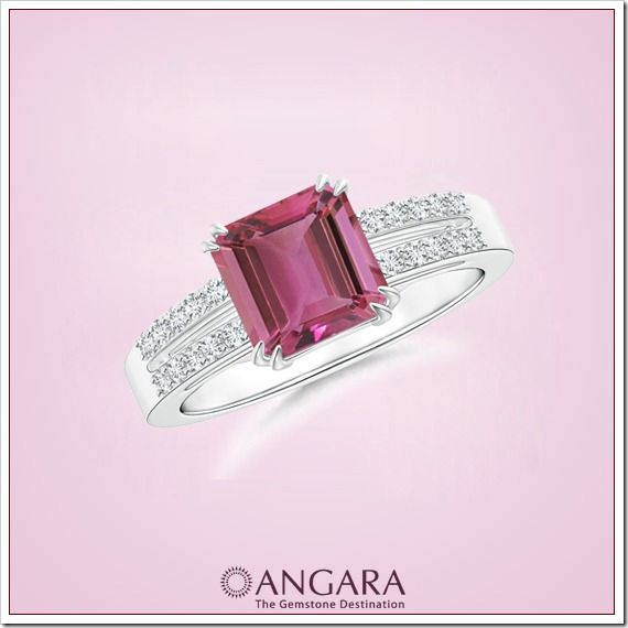Angara Solitaire Oval Ruby Criss-Cross Ring With Linear Diamond 34uEZs
