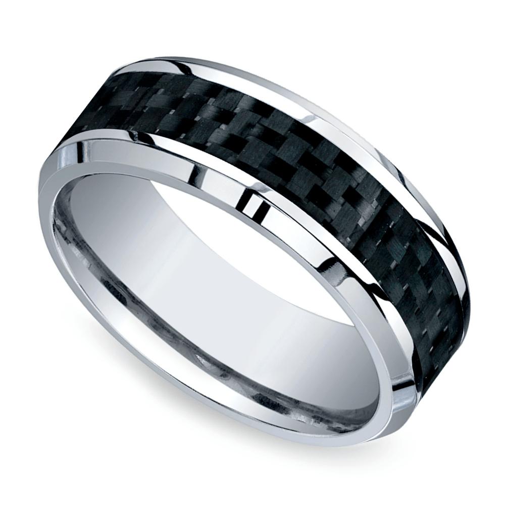 Beveled Carbon Fiber Inlay Men's Wedding Ring In Cobalt