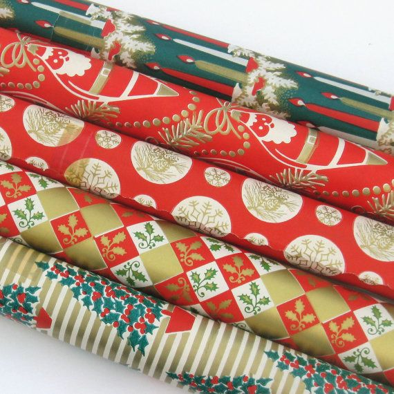 Vintage Christmas Wrapping Paper Roll Choose From 2 Remaining Etsy Vintage Christmas Wrapping Paper Christmas Wrapping Paper Christmas Wrapping