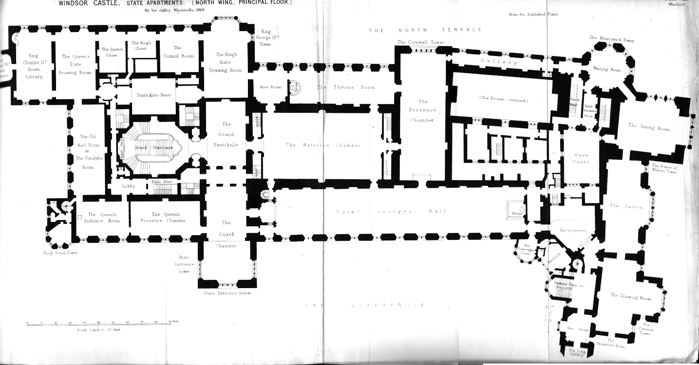 Windsor Castle First floor plan under George IV circa 1825 after Wyattville alterations