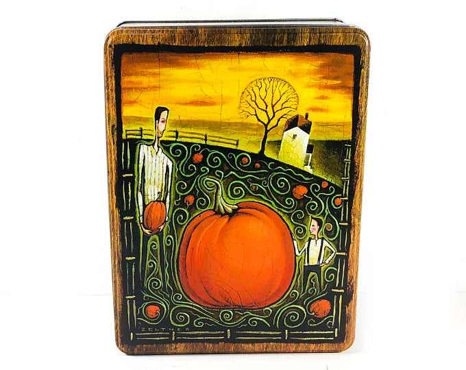 Great Graphic Illustration Large Great Pumpkin Tin Stylized Vines on Sides of Tin