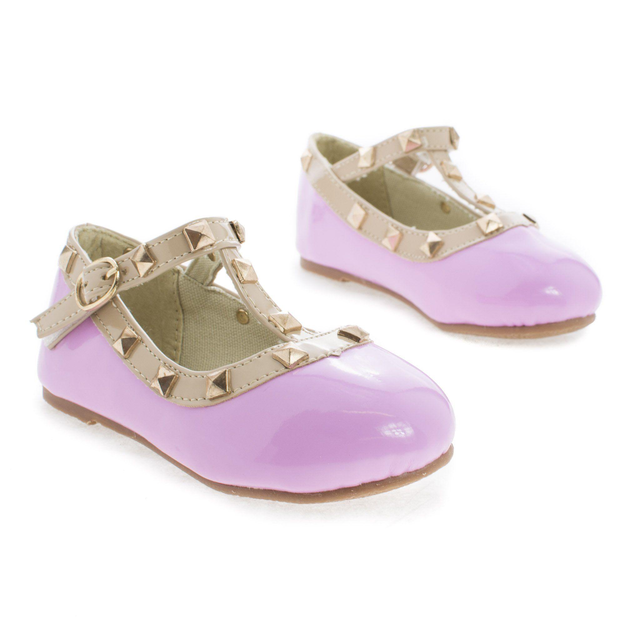 Clinky Infant Girl Round Toe Mary Jane Studded Slip On Flats