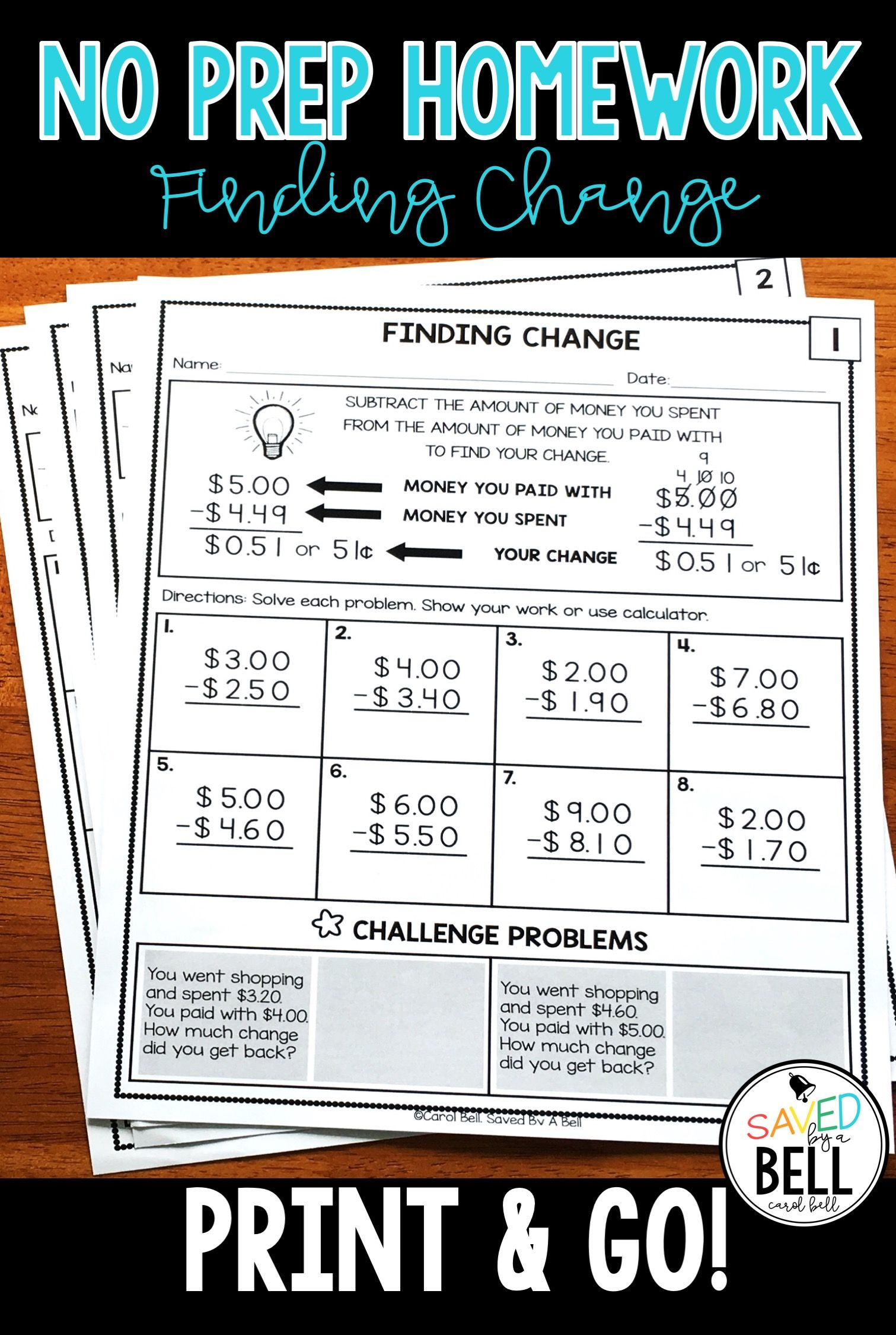 Subtraction Money Worksheets