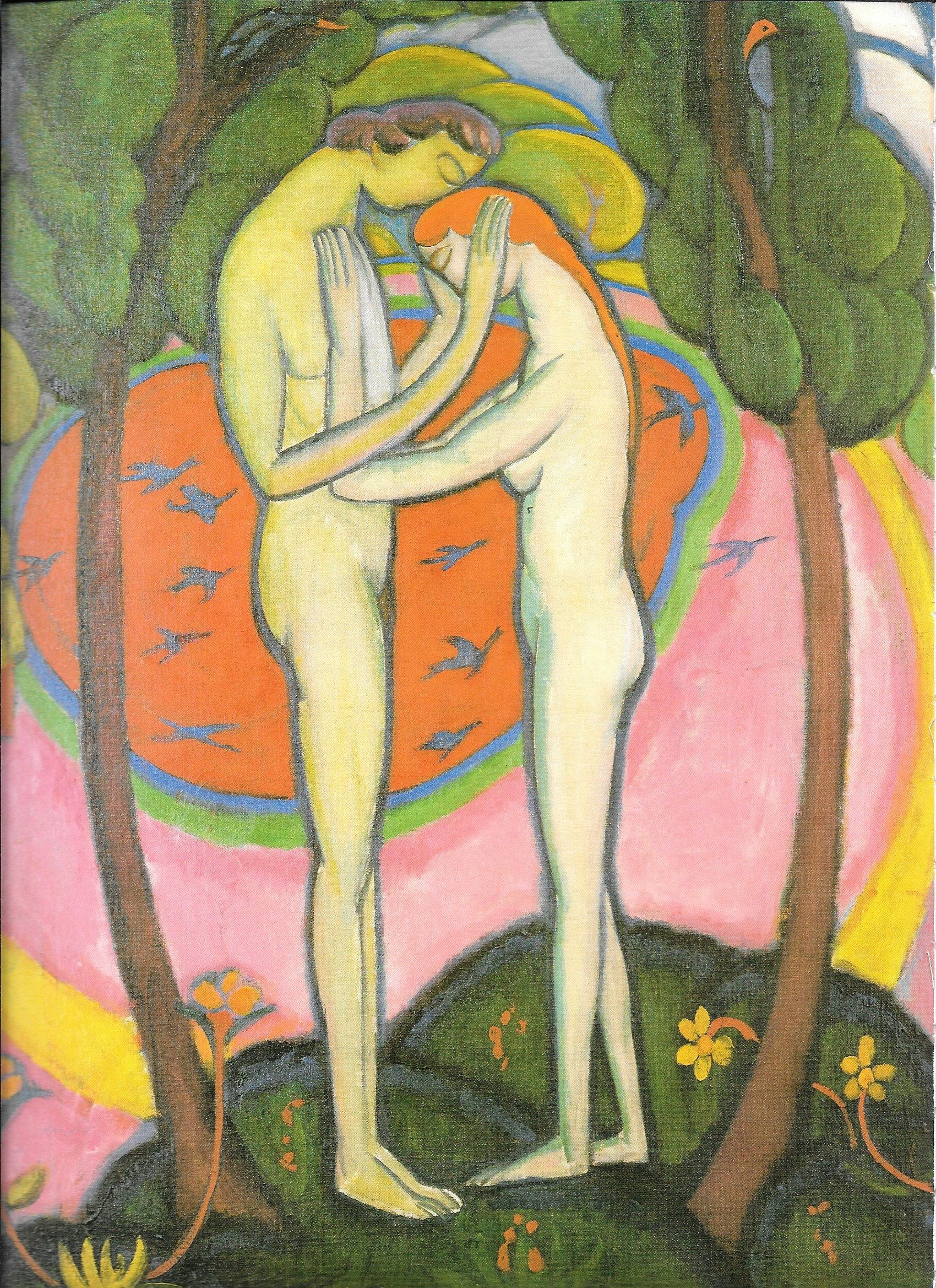 Man woman embrace nude art