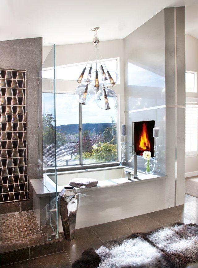 design-pendelleuchten für badezimmer-wandkamin eingebaut